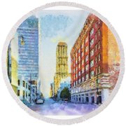 Memphis City Street Round Beach Towel