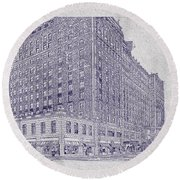 Memphis Peabody Hotel Blueprint Round Beach Towel
