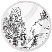 Men At The Cafe Round Beach Towel