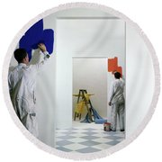 Men Painting Walls Round Beach Towel