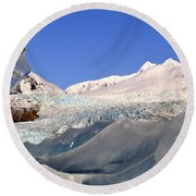 Round Beach Towel featuring the photograph Mendenhall Glacier Refraction by Cathy Mahnke
