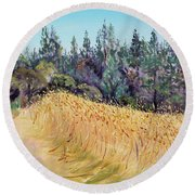 Mendocino High Grass Meadow At Susan's Place In July Round Beach Towel