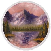 Round Beach Towel featuring the painting Mental Mountain by Jason Williamson