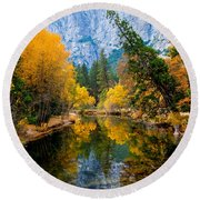 Merced River And Leaning Pine Round Beach Towel
