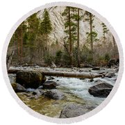 Merced River From Happy Isles 2 Round Beach Towel