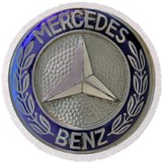 Mercedes Benz Badge Blue Round Beach Towel