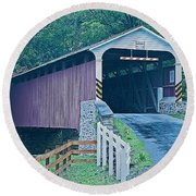 Mercer's Mill Covered Bridge Round Beach Towel