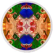 Merging Consciousness With Abstract Artwork By Omaste Witkowski  Round Beach Towel
