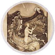 Mermaid And Dolphin From A Midsummer Nights Dream Round Beach Towel by Arthur Rackham