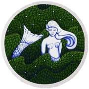 Mermaid At The Garden Round Beach Towel by Donna Huntriss