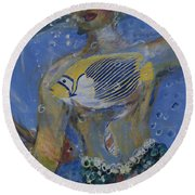 Round Beach Towel featuring the painting Mermaid by Avonelle Kelsey