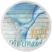 Mermaid Bath I Round Beach Towel