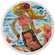 Round Beach Towel featuring the painting Mermaid Mermaid by Mary Carol Williams