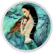 Mermaid Mother And Child Round Beach Towel