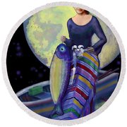 Mermaid Mother Round Beach Towel by Carol Jacobs