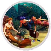 Mermaid Treasures Round Beach Towel