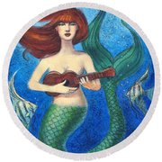 Mermaid Ukulele Angels Round Beach Towel by Sue Halstenberg