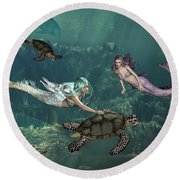 Mermaids At Turtle Springs Round Beach Towel