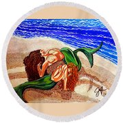 Round Beach Towel featuring the painting Mermaids Spent Jackie Carpenter by Jackie Carpenter