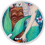 Mermaid's Tiki God Round Beach Towel by Sue Halstenberg