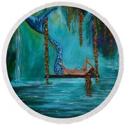 Mermaids Tranquility Round Beach Towel by Leslie Allen