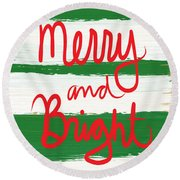Merry And Bright- Greeting Card Round Beach Towel