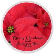Christmas Poinsettia Round Beach Towel by William Tanneberger