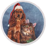 Merry Christmas Round Beach Towel by Carol Wisniewski