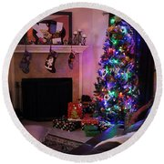 Round Beach Towel featuring the photograph Merry Christmas From My Home To Yours by Trish Mistric