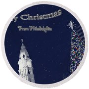 Merry Christmas From Philly Round Beach Towel by Photographic Arts And Design Studio