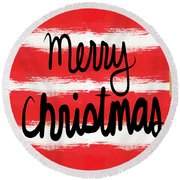 Merry Christmas- Greeting Card Round Beach Towel