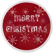 Round Beach Towel featuring the painting Merry Christmas by Jocelyn Friis