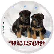 Merry Christmas Puppies Round Beach Towel