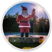 Merry Christmas Santa Claus Greeting Card Round Beach Towel