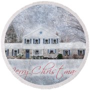 Wintry Holiday - Merry Christmas Round Beach Towel