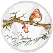 Merry Christmas Robin Round Beach Towel by Teresa White