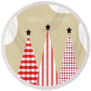 Merry Christmas With Red And White Trees Round Beach Towel