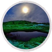 Round Beach Towel featuring the photograph Mesa Arch In Green by David Andersen
