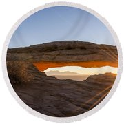 Mesa Arch Sunrise 7 - Canyonlands National Park - Moab Utah Round Beach Towel