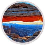 Mesa Arch Sunrise Round Beach Towel by Adam Jewell