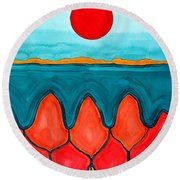 Mesa Canyon Rio Original Painting Round Beach Towel