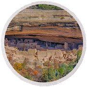 Mesa Verde Cliff Dwelling Round Beach Towel