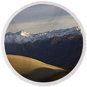 Round Beach Towel featuring the photograph Mesquite Dunes And Grapevine Range by Joe Schofield