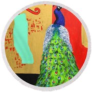 Round Beach Towel featuring the painting Messages by Ana Maria Edulescu
