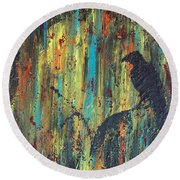 Round Beach Towel featuring the painting Messenger by Jacqueline McReynolds