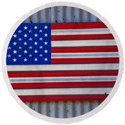 Metal American Flag Round Beach Towel