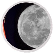 Metallica And Moon Round Beach Towel
