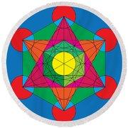 Metatron's Cube In Colors Round Beach Towel