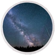Meteor Milky Way  Round Beach Towel by Michael Ver Sprill