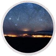 Meteor Over The Big Island Round Beach Towel